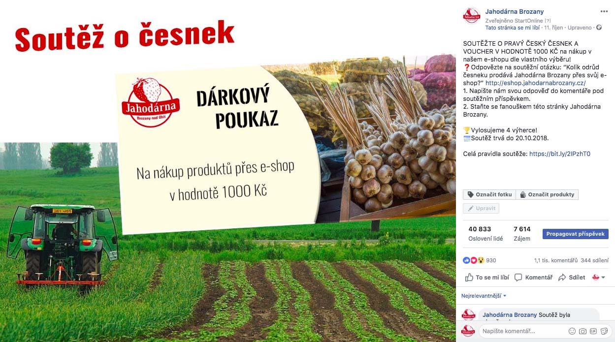 Jahodárna Brozany - Soutěž na Facebooku